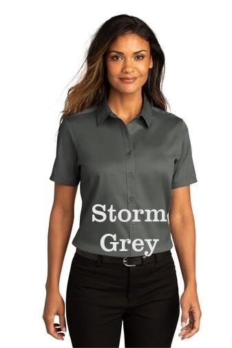 Ladies Short Sleeve SuperPro React™Twill Shirt - Storm Grey