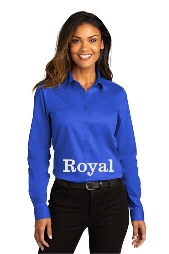 Ladies Long Sleeve SuperPro React™Twill Shirt - Royal Blue