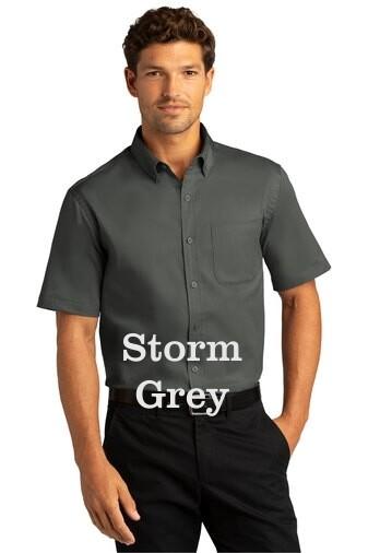 Men's Short Sleeve SuperPro React™Twill Shirt - Storm Grey