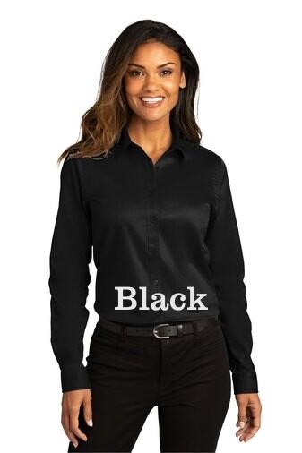 Ladies Long Sleeve SuperPro React™Twill Shirt - Black
