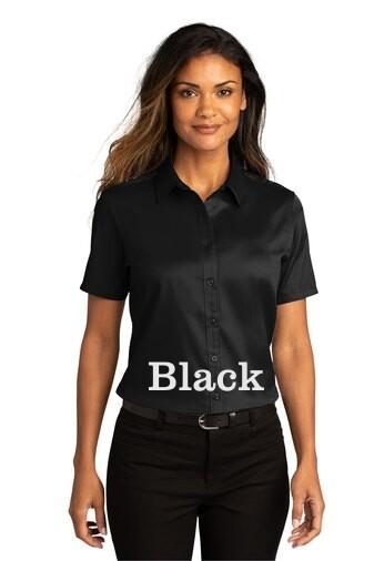 Ladies Short Sleeve SuperPro React™Twill Shirt - Black