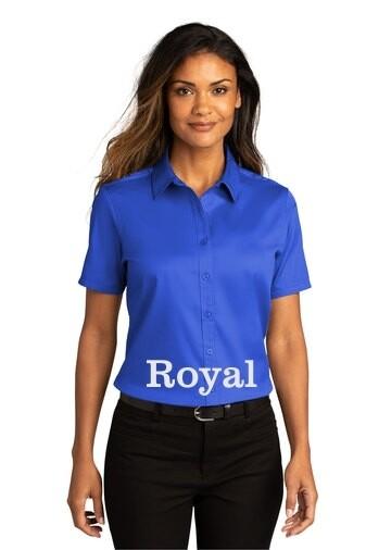 Ladies Short Sleeve SuperPro React™Twill Shirt - Royal Blue