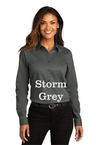 Ladies Long Sleeve SuperPro React™Twill Shirt - Storm Grey