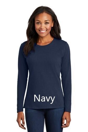 Ladies Long Sleeve Tee - Navy