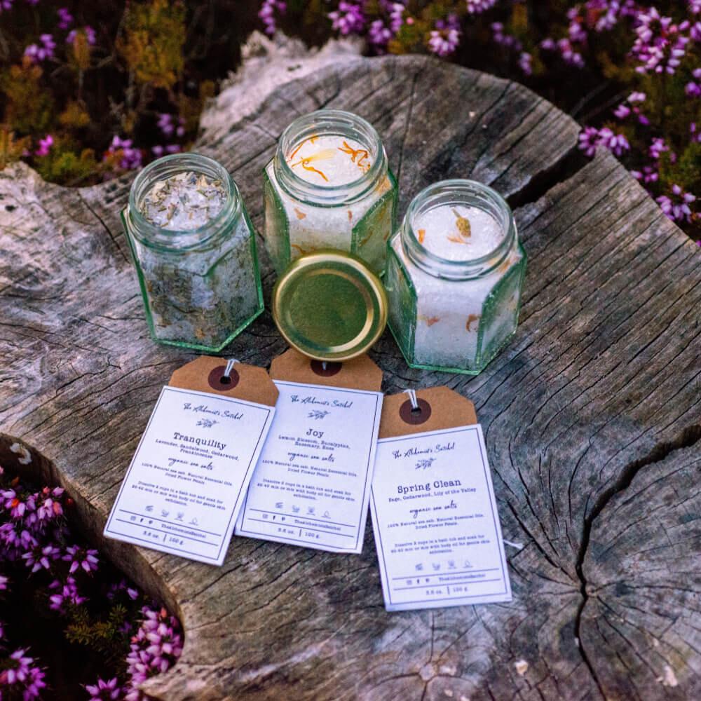 Set of 3 Bath Salts Jar, Aromatherapy