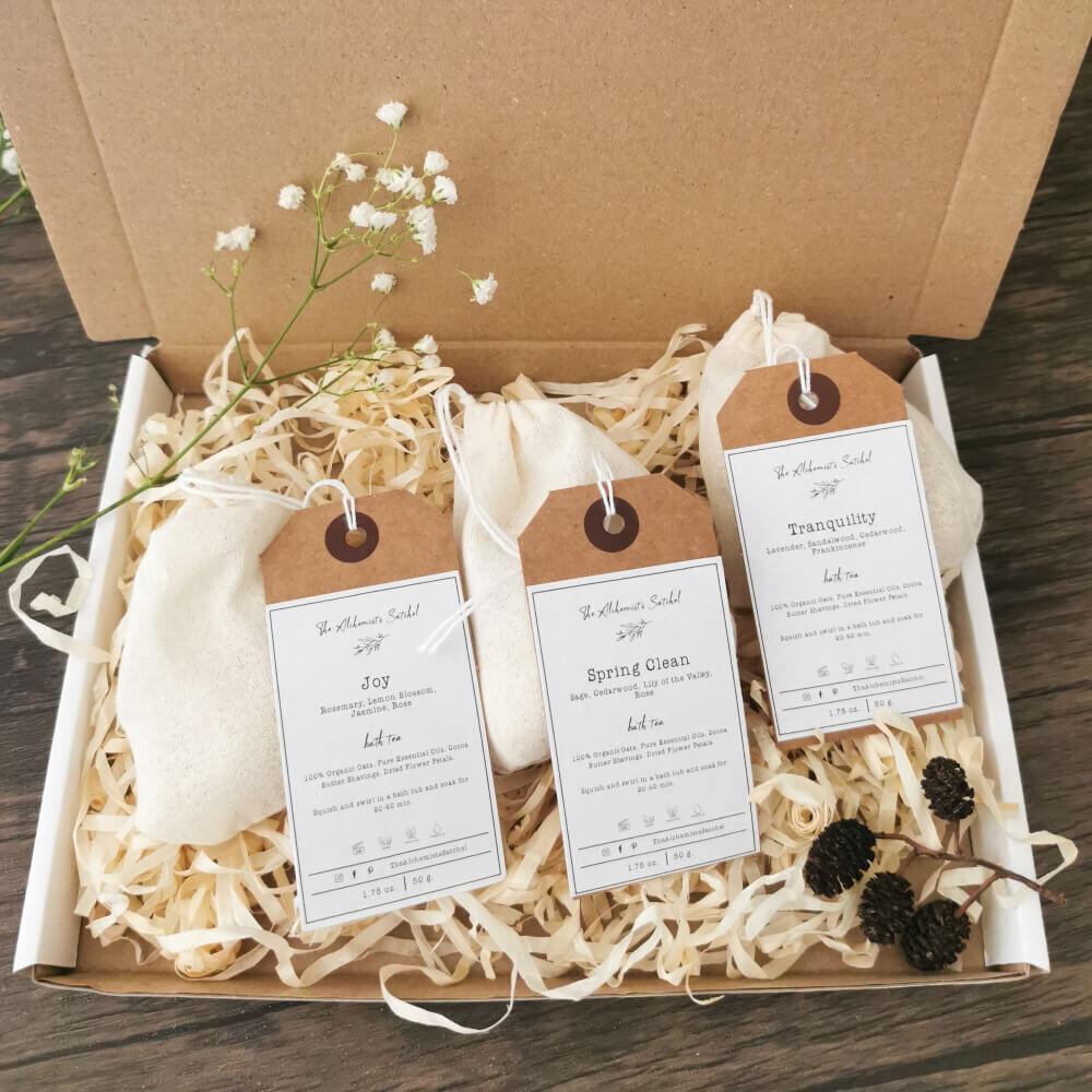 Set of 3 Bath Teas, Muslin Reusable Tea Bags, Aromatherapy, Pure Essential Oils, Bath Milk, Sensitive Skin Care, Self-Care, Gifts for her