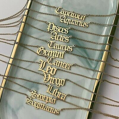 Gold 12 Horoscope Astrology Zodiac Letter Birth Sign Chain Necklace Gift