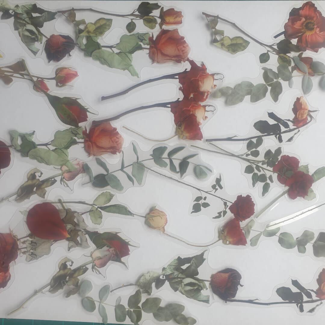 Vintage Flower Stickers (40pc)