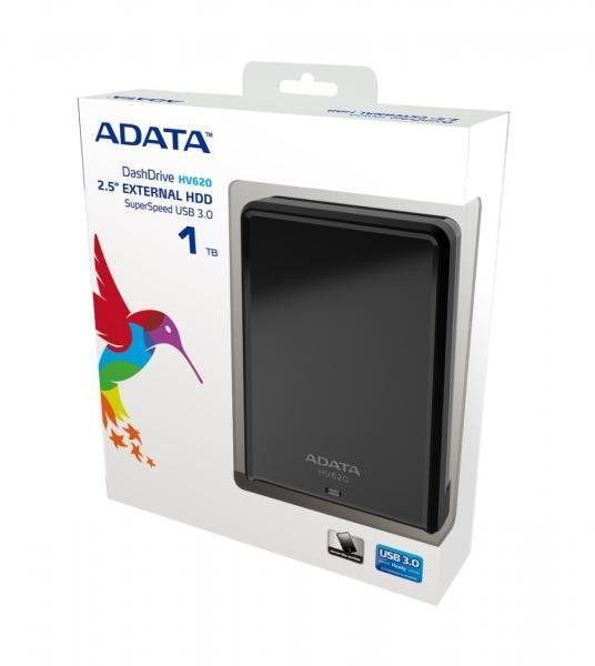 1TB AData DashDrive HV620 USB3.0 Black Portable Hard Drive