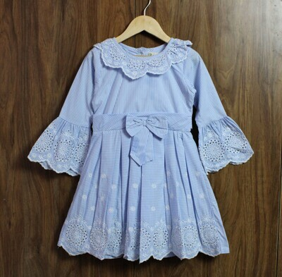 bell sleeve emb dress(4 to 12 Yrs.)