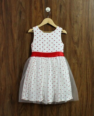 Red heart party dress(4 to 12 Yrs.)