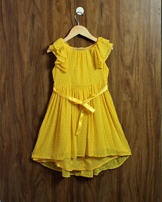 Yellow chiffon with lined cotton(4 to 12 Yrs.)