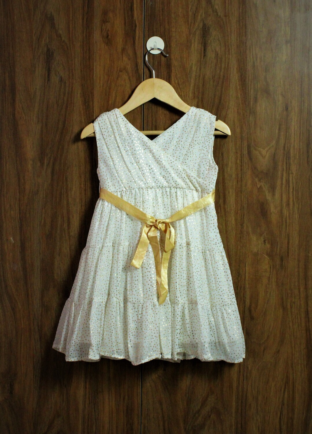 Golden dot party dress with lined cotton(1 to 5 Yrs.)