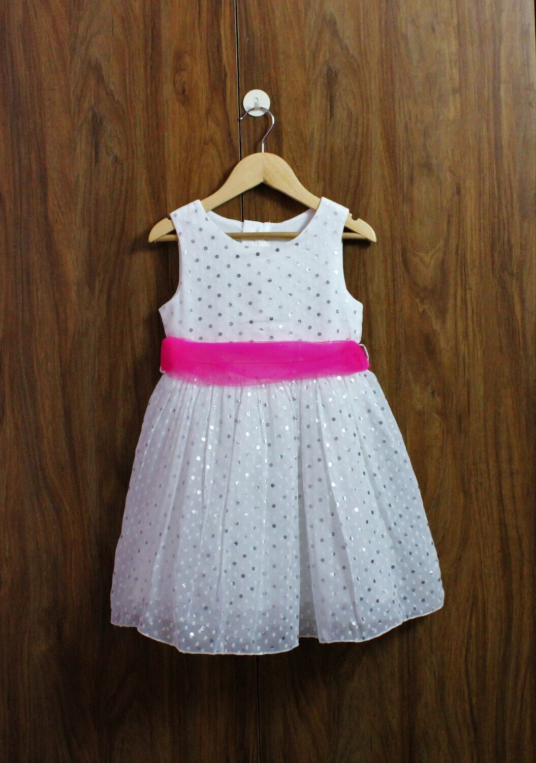 Silver dot party frock(4 t0 12 Yrs.)