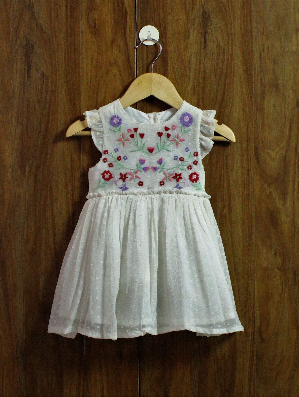White Emb dress(1 to 7-8 Yrs.)