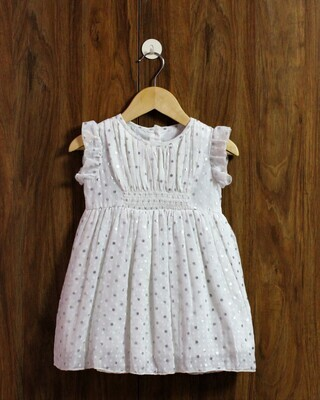 Silver dot party dress(1 to 4 yrs.)