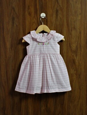 pink stripes frock(6 months to 6 Yrs.)