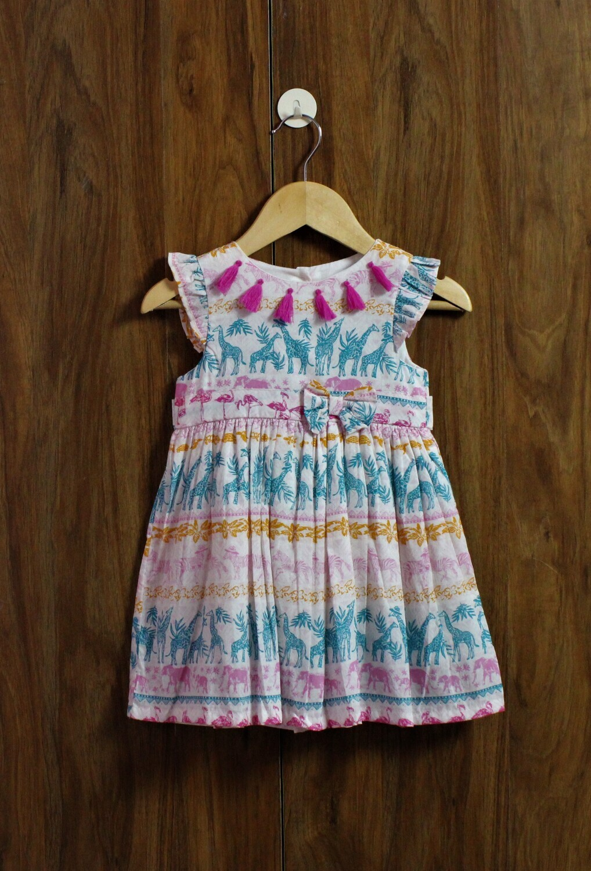 Zirafe print dress(6 months to 6 Yrs.)