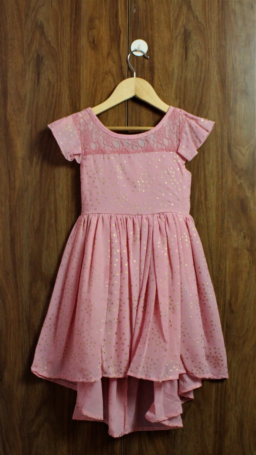 Golden star frock with inside cotton lined(4 to 12 Yrs.)
