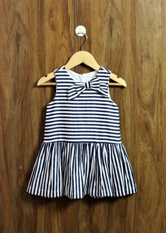 Nevy blue striped dress(1 to 5-6 Yrs.)
