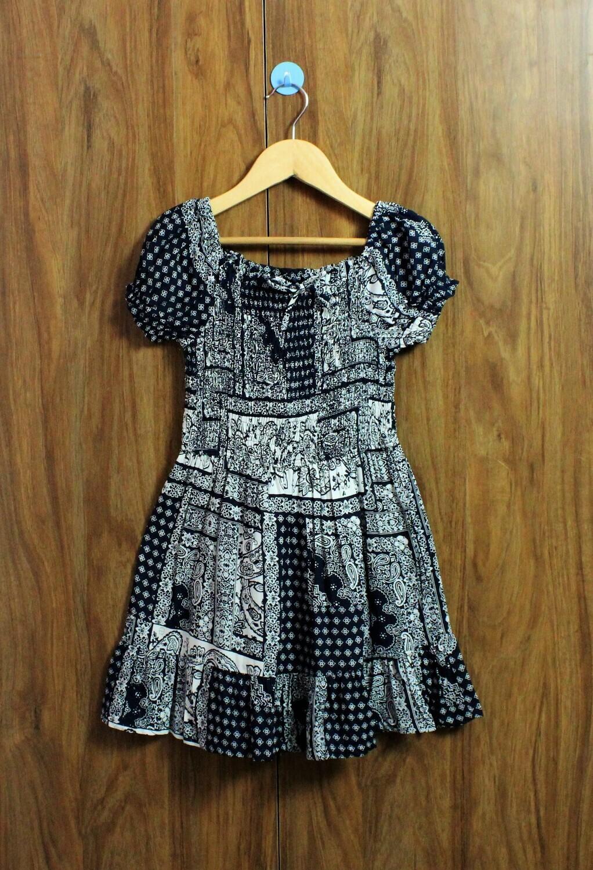 Black printed smoked dress