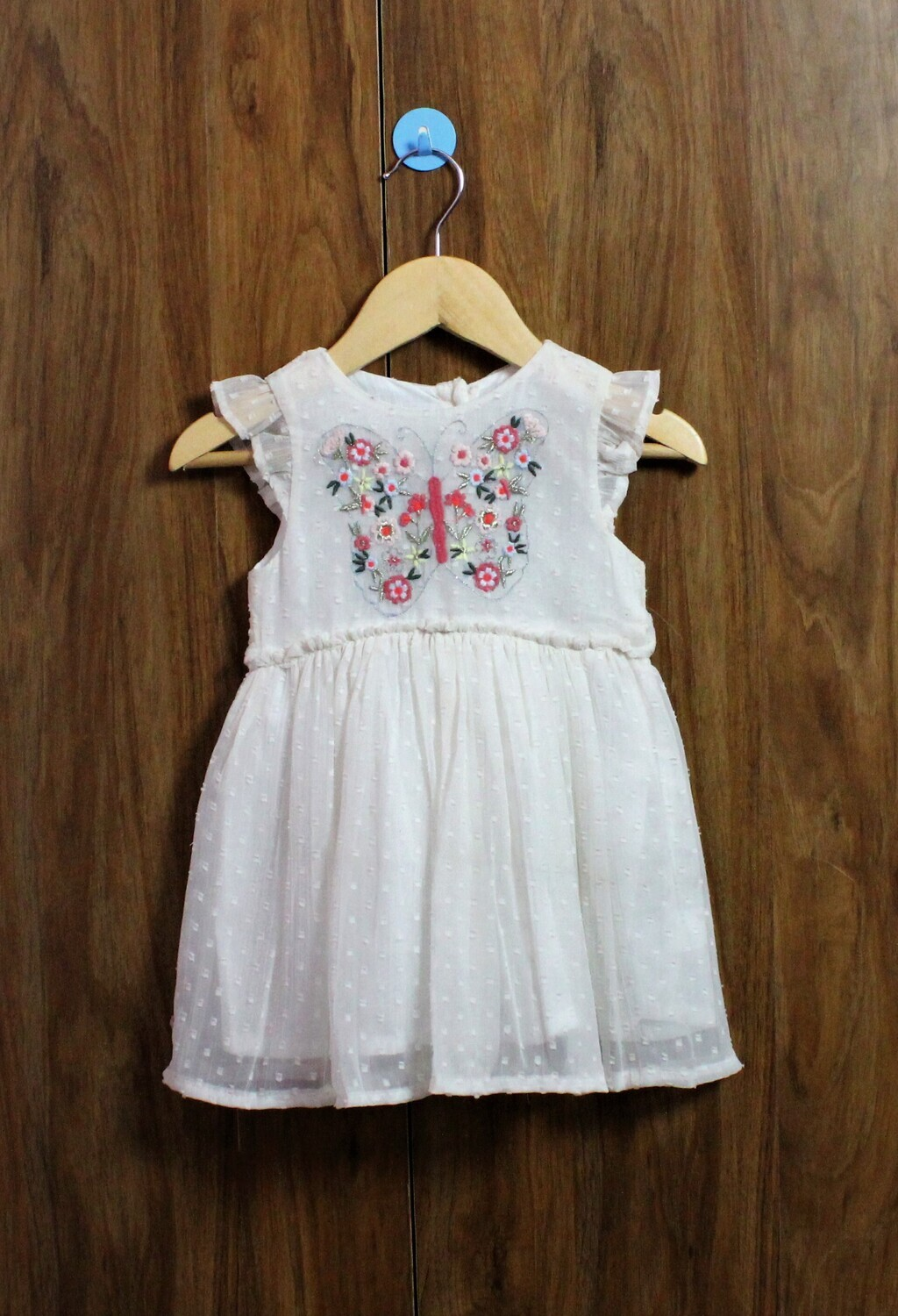 Butter fly emb dress(1 to 7-8 Yrs.)