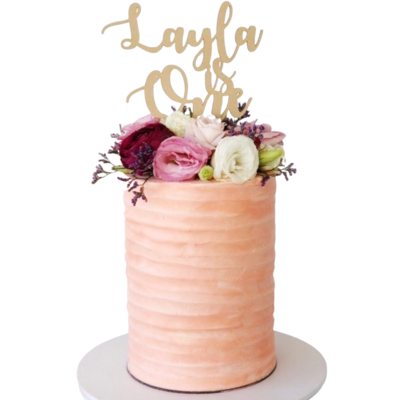 Floral Buttercream Stripe Cake