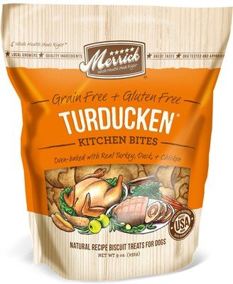 Merrick Kitchen Bites Turducken Grain-Free Biscuits Dog Treats