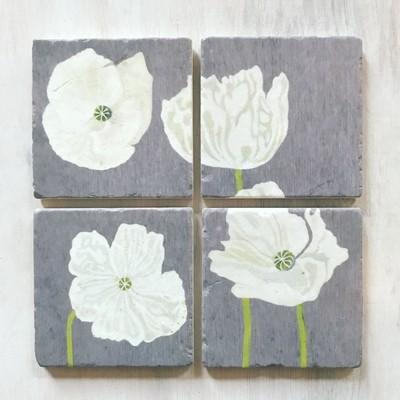 Coaster Set: White Poppies on Grey