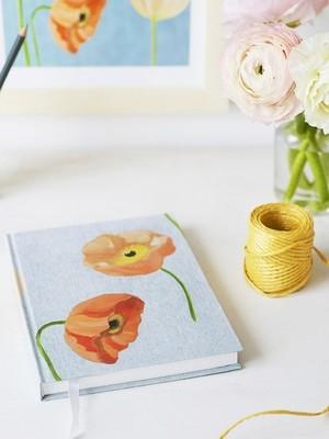 Journal:  Peach Poppies on Grey
