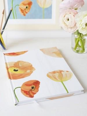 Sketchbook:  Peach Poppies on Snow