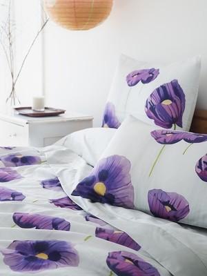 Duvet Cover:  Purple Poppies on Snow