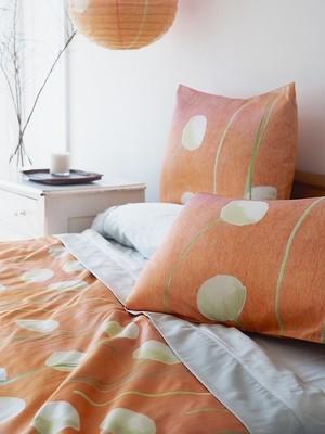 Duvet Cover:  Cream Flowers on Orange