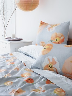 Duvet Cover:  Peach Poppies on Grey