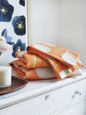 Sheet Set: Cream Flowers on Orange