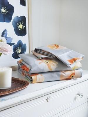 Sheet Set: Peach Poppies on Grey