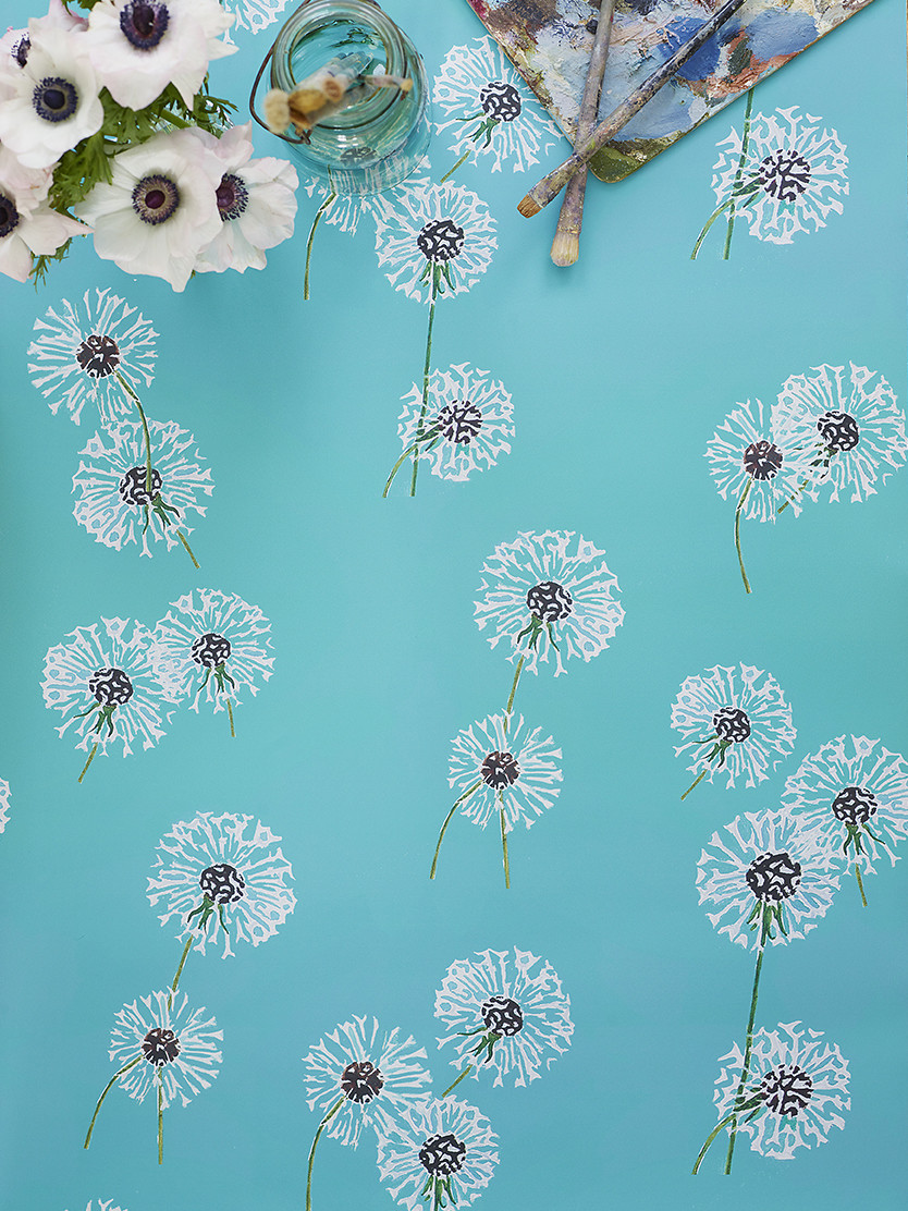 Wallpaper:  Dandelions on Aqua