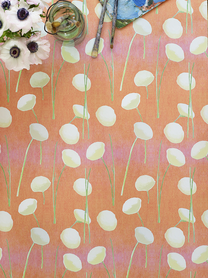 Wallpaper:  Cream Flowers on Orange