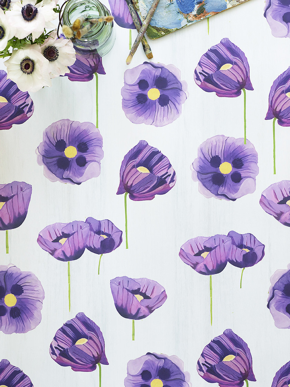 Wallpaper:  Purple Poppies on Snow