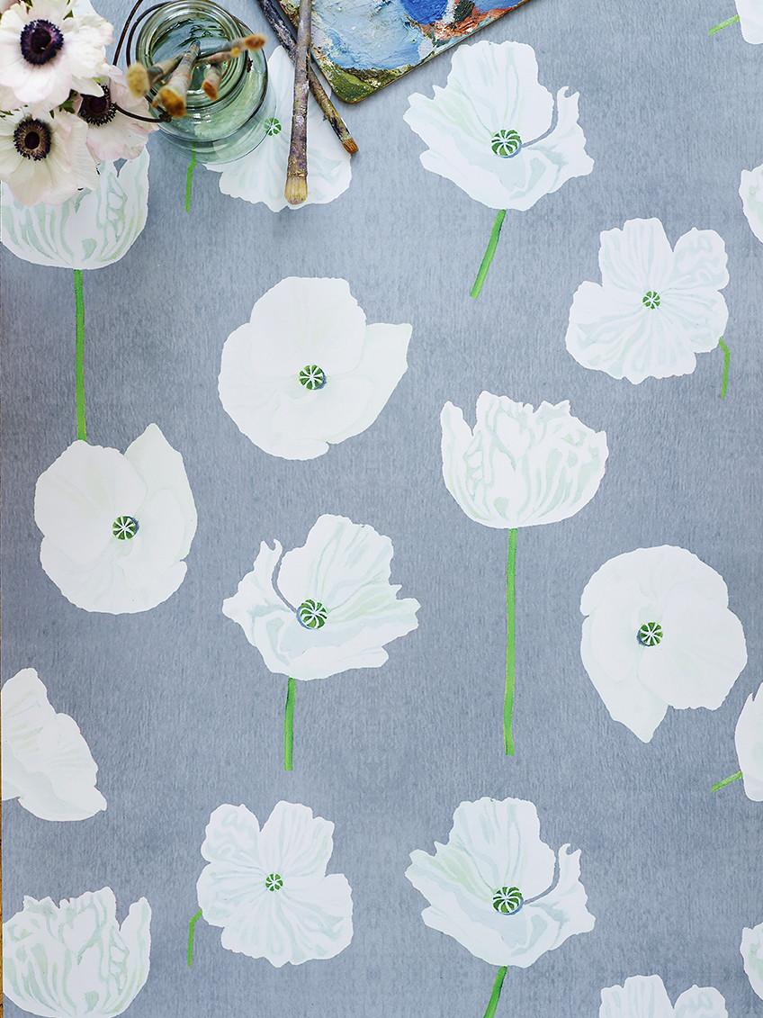 Wallpaper:  White Poppies on Grey