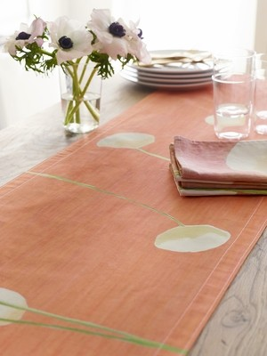 Table Runner: Cream Flowers on Orange