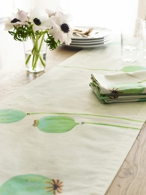 Table Runner:  Poppy Pods on Ecru
