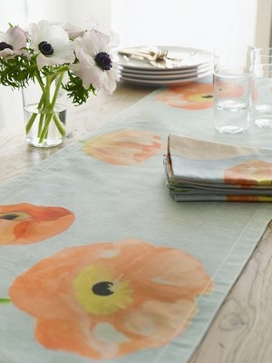 Table Runner:  Peach Poppies on Grey