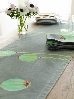 Table Runner:  Poppy Pods on Grey