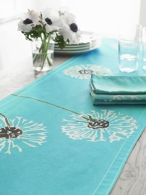 Table Runner:  Dandelions on Aqua