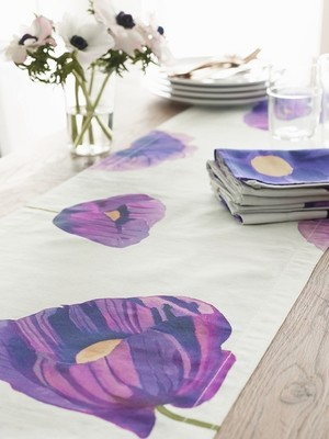 Table Runner: Purple Poppies on Snow