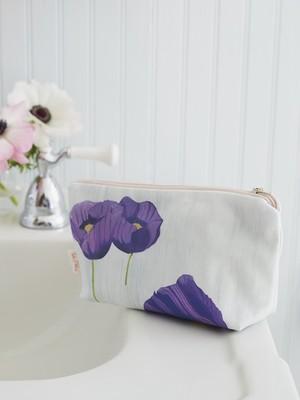 Makeup Bag:  Purple Poppies on Snow
