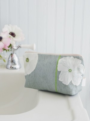 Makeup Bag:  White Poppies on Grey