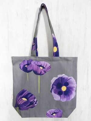 Tote Bag:  Purple Poppies on Grey
