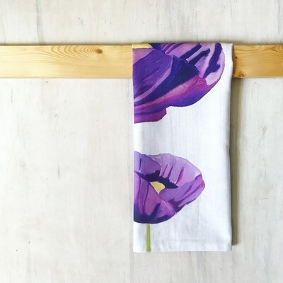 Tea Towel:  Purple Poppies on Snow